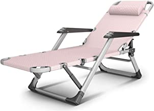 High-quality recliner Zero Gravity Chair Deck Chairs Folding, Sleeping Sunloungers Recliner Balcony Chair Nap Bed Chair Cool Portable Sun Lounger (Color : Pink)
