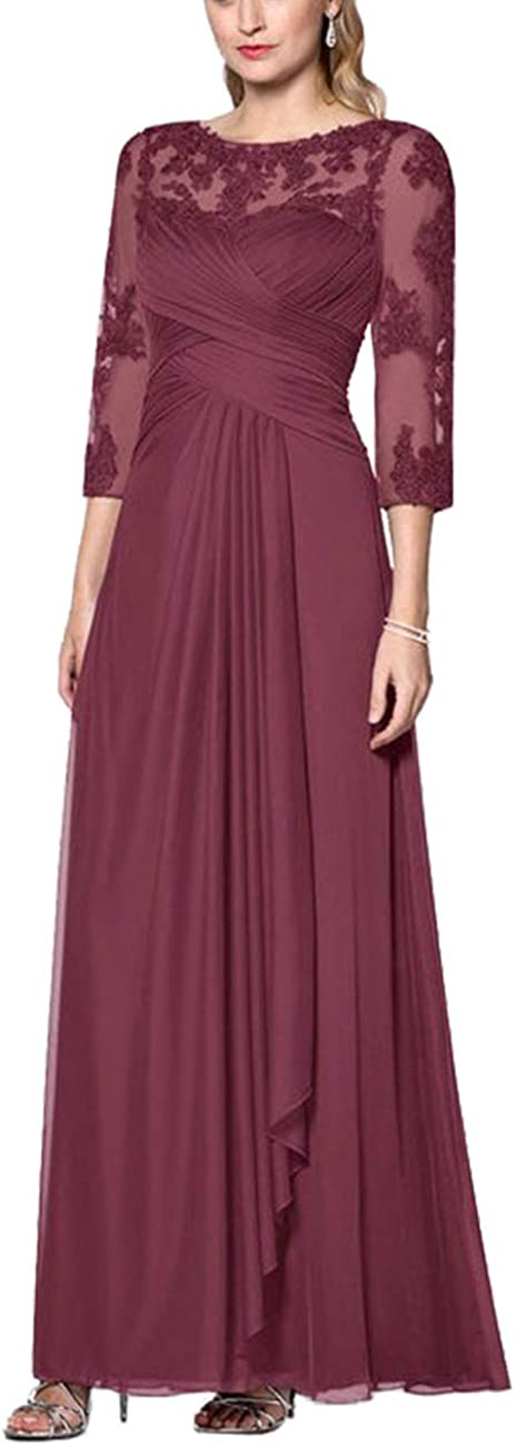 Mother of The Bride Dresses Long Sleeve Lace Evening Gown Formal Party Dresses Chiffon Mothers Dresses