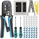 CHZHLM RJ45 Crimp Tool Kit Cat5 Cat5e Ethernet Crimping Tool 6P/8P-RJ11 RJ12 Crimper Cutter with 50PCS RJ45 Connetors 50PCS Covers 1 Cable Tester 1 Wire Stripper 2 Screwers