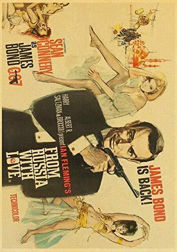 H/M British Legend James Bond 007 Retro Poster Film Retro Poster Decorazione della Casa Camera Bar Tela Pittura 40X50Cm -Cv53