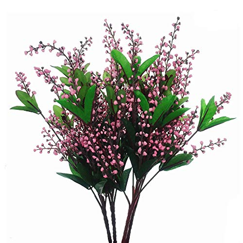 LMYTech Pack of 4 Flores Artificiales Acacia Bean Artificial Flowers 5 Branch 10 Cabezas Ideal para Habitaciones Boda Decoración De Fiesta-Rosa