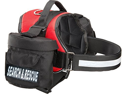 Search & Rescue Dog Harness with Removable Saddle Bag Backpack Harness Carrier Traveling. 2 Removable Search & Rescue Reflective Patches. Please Measure Dog Before Ordering.