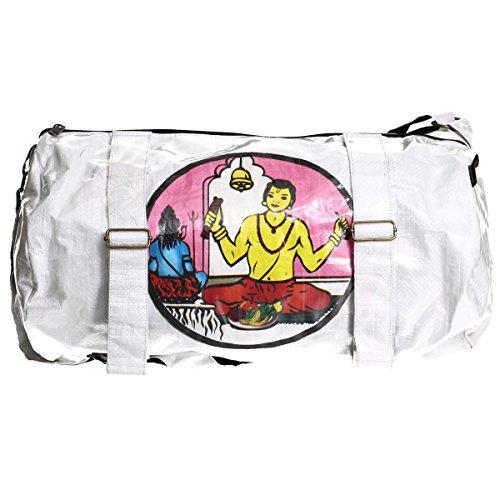 Shakti Milan   Handgefertigte Yoga Sporttasche White Shiv Pujari   Upcycled aus alten Reis- oder Linsensäcken   Made in Nepal