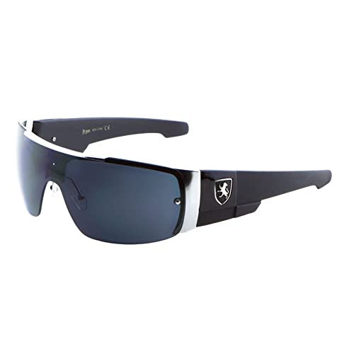 2cd360a830 Khan Men s Flat Top Sports Shield Sunglasses