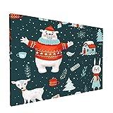Sin Marco Mural Impresiones en Lienzo,Trama Dibujada a Mano de Vacaciones de Navidad de Invierno,Oficina en Casa Decoración Mural Pintura al óleo Arte de Moda,18' x 12'