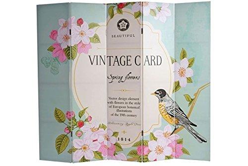 Foto-Paravent 180x200 Vintage Paravent Raumteiler Trennwand Blumen Vogel Bilder