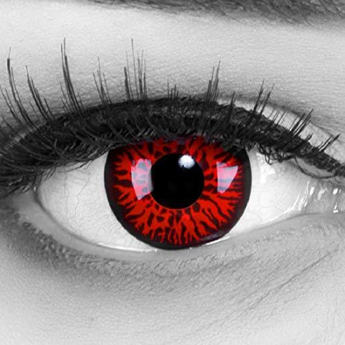 EIN PAAR Farbige Crazy Fun 14 mm Red Demon Kontaktlinsen mit gratis Linsenbehälter und Kombilösung. Perfekt für Fasching!