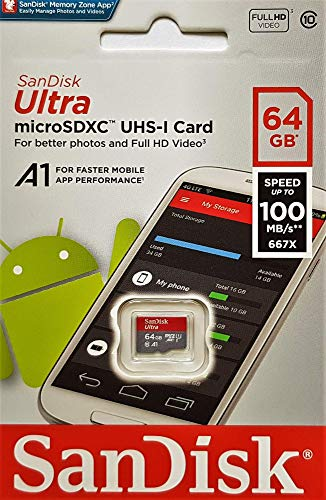 SanDisk Ultra 64 GB microSDXC Memory Card + SD Adapter with A1 App Performance Up to 100 MB/s, Class 10, U1