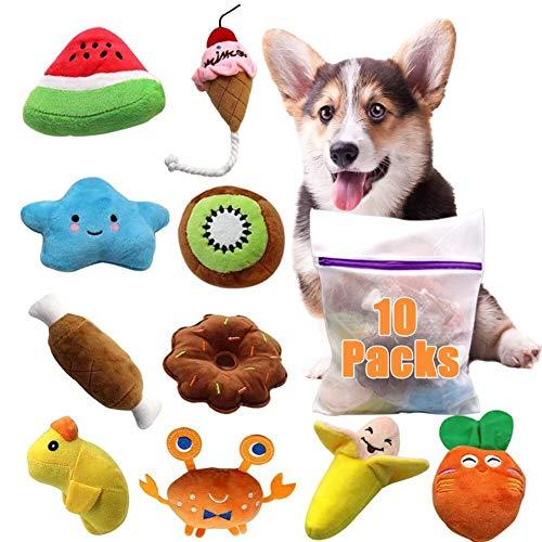 Hund Quietschspielzeug 10Pack, ein robustes, weiches Kauspielzeug, geeignet für kleine und mittlere Hunde, Gemüse, Tiere, Knochen, Eis, Sterne und andere farbige Hundebiss-Plüschtiere