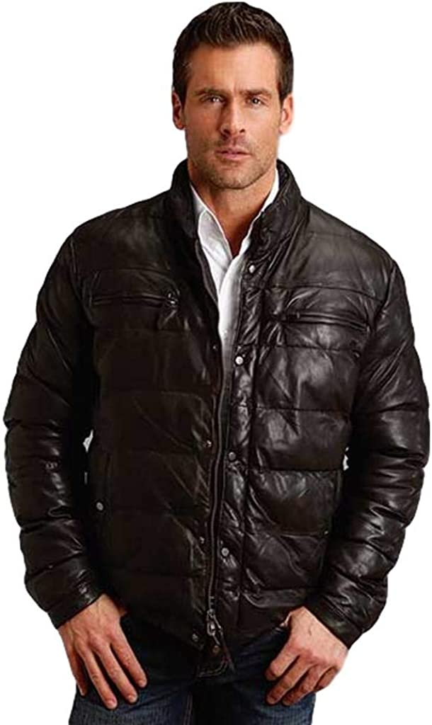 Stetson Western Jacket Mens Leather Quilted Brown 11-097-0539-6619 BR