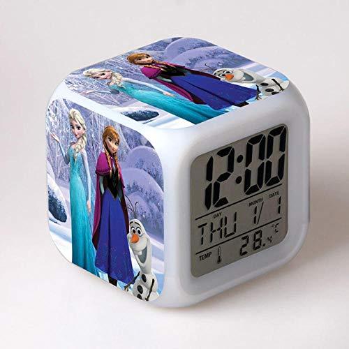 Réveil de dessin animé congelé 7 couleurs changeantes veilleuse LED réveils numériques étudiant brillant enfants horloge de bureau avec thermomètre adulte enfants cadeau - 18