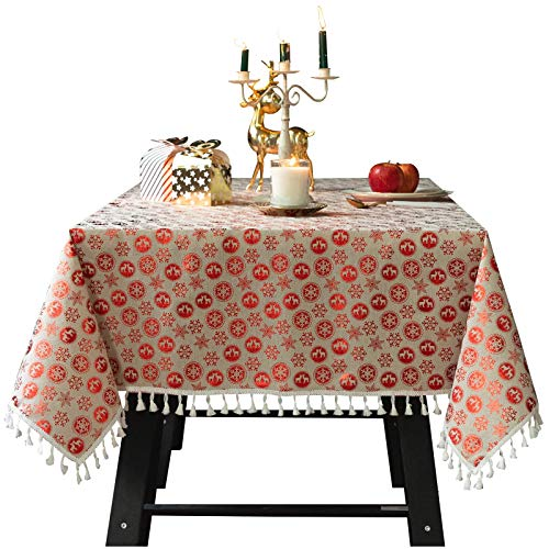 Bronzing Christmas Tablecloths,Cotton Linen Tassel Cloth for Home Festival & Outdoor,Oil Proof No-Fade Table Cover