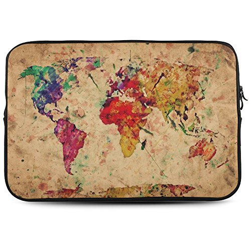 """InterestPrint Vintage Retro Watercolor World Map 17"""" 17.3"""" Inch Laptop Sleeve Bag for Dell Inspiron, Vostro, Samsung, ASUS UL30, Toshiba Notebook"""