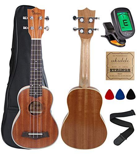 Kulana Deluxe Soprano Ukulele, Mahogany Wood with Binding and Aquila Strings + Gig Bag