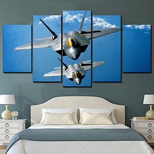 KOPASD Art Impresión Lienzo,Tamaño Grande, Aeronave Militar -200x100cm Diseño Profesiona/5pcs(Sin Marco)