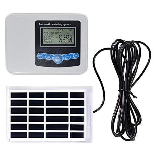 YANXS Temporizador de Riego Automático Energía Solar, Programador de Riego Jardín con Digital Pantalla LCD, Reloj de Riego con Protectora Impermeable para Agricultura Invernadero Jardín