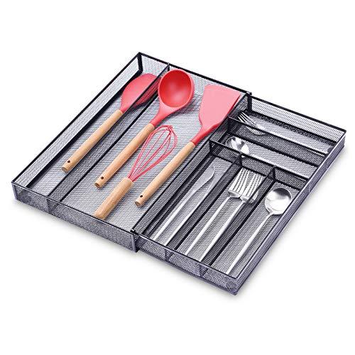 Organizador de cajones de cocina extensible de 6 a 7 compartimentos, organizador de cubiertos de malla ajustable con alfombrillas antideslizantes para utensilios de cocina, color negro