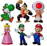 Super Mario Toys 6pcs/Set Mario bros figuras de acción muñecas de 4-7 cm Mario Yoshi Luigi PVC Coleccionable Modelo Juguetes para niños Regalo de cumpleaños