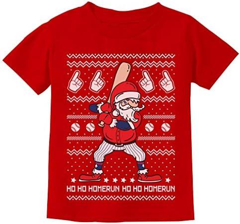 Ho Ho Home Run Santa Claus Baseball Player Ugly Christmas Toddler Hoodie