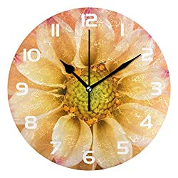 Dozili Dahlia Flower Floral Decorative Wooden Round Wall Clock Arabic Numerals Design Non Ticking Wall Clock Large for Bedrooms, Living Room, Bathroom