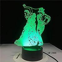 フラミンゴダンススカートテーブルランプ3DLed寝室の装飾常夜灯USBベビースリープビジュアルガールズライトフィクスチャキッズギフトAw-2990