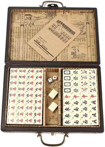 LLKK Majiang Travel Set with,Portable Retro Mahjong Box Chinese 144 Mah-Jong Set Bamboo Pieces
