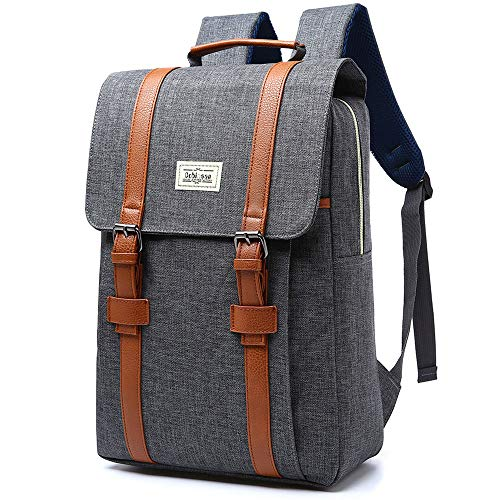"""Mochila con doble correa, con 3 bolsillos, uno de los cuales para un ordenador de hasta 15"""", hecha de nailon impermeable, ideal tanto para hombres como para mujeres (# 207) gris gris"""