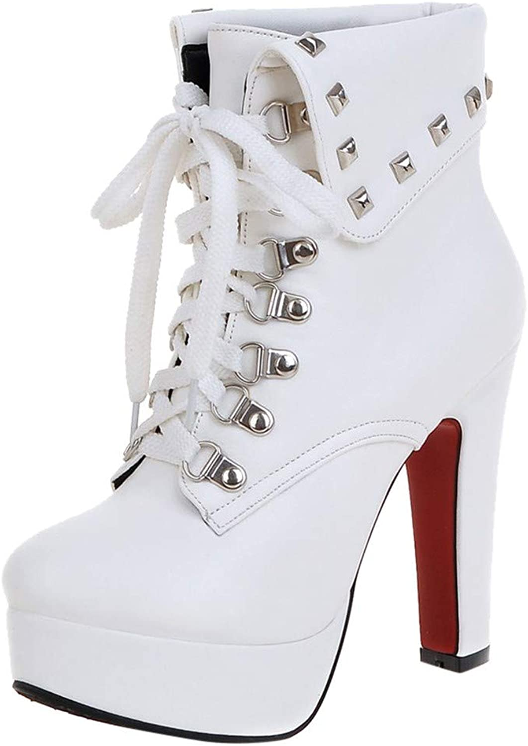 RedBrowm-women Solid Metal Rivet Thick Super High Heel Ankle Boots Round Toe shoes White