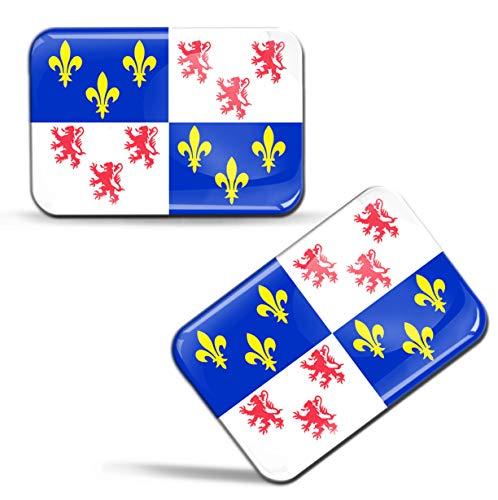 Biomar Labs® 2 x sticker 3D gel silicone stickers Franse vlag Frankrijk vlag Frankrijk Picardie Franse vlag auto motorfiets raam deur PC Tablet Laptop F 74