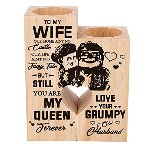 Candle Holder Wife Gifts from Husband - to My Wife You are My Queen Forever - Gift for Birthday  Anniversary (A)