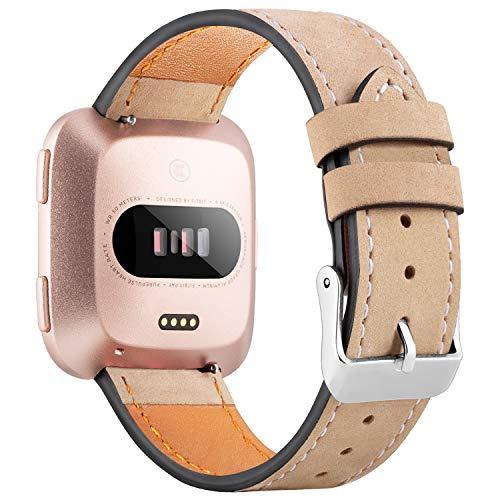 WASPO für Fitbit Versa Armband, Elegantes Echtes Lederarmband mit Schnellverschluss Pin Kompatibel mit Fitbit Versa 2/ Fitbit Versa/Fitbit Versa Lite Edition, Klein Groß Damen Herren (Mattbraun, S)