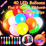 40 Pack LED Light Up Balloons, Premium Mixed-Colors Flashing Party Lights Lasts 12-24 Hours , Glow in the dark For Parties, Birthdays Wedding Decorations And Halloween Christmas Festival,Fillable with Helium, Air