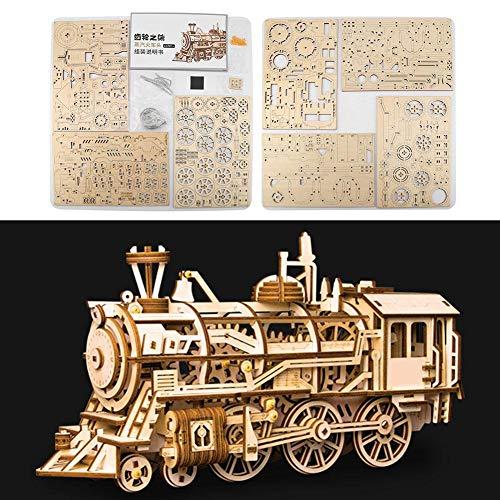 Locomotora Transmisión mecánica Dise?o-3D Rompecabezas de madera Conjuntos de artesanía de bricolaje Fantástico rompecabezas educativo de madera Modelo de kit para ni?os, adolescentes y adultos