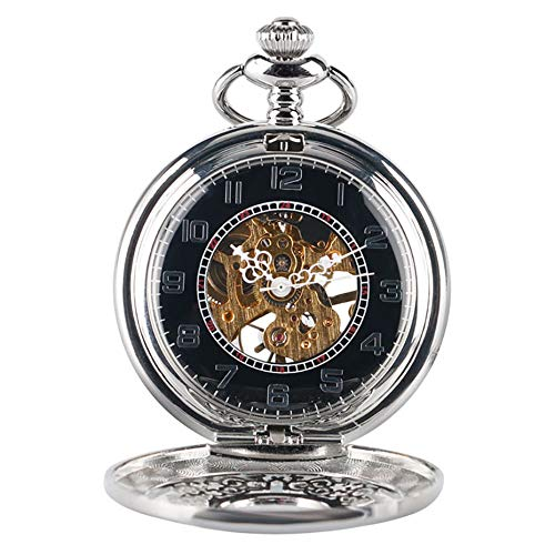 XVCHQIN Steam Punk Antique Mechanical Pocket Watch Hand Winding Pocket Watch Set Hanging Chain Necklace Chain,A