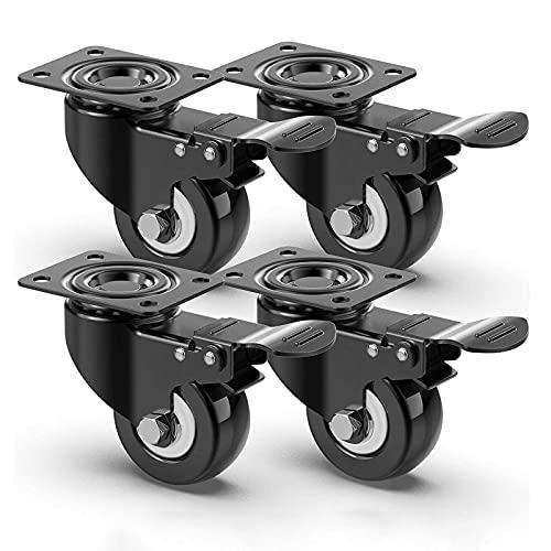 4 ruedas para muebles, ruedas para muebles pesados con capacidad de carga de 400 kg,con freno ruedas giratorias, 50mm ruedas para mover muebles (negro)