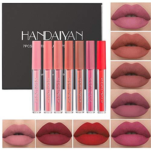 7Pcs Matte Liquid Lipstick Makeup Set, Matte liquid Long-Lasting Wear Non-Stick Cup Not Fade Waterproof Lip Gloss Makeup Gift Sets for Women Girls (Set C)