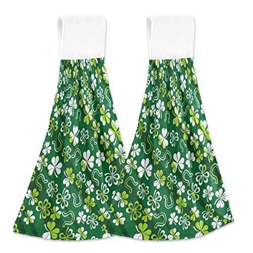 Toallas de cocina para colgar 2 piezas, diseño de trébol de herradura para colgar en el día de San Patricio, suave de terciopelo coral súper absorbentes toallas de mano para cocina