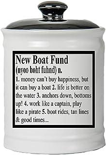 بنك بيجي من كوتج جريك، صندوق عملات نقدية، وعاء سيراميك جديد مستدير مع غطاء أسود، إكسسوارات للقوارب، هدايا ركوب القوارب [أبيض]