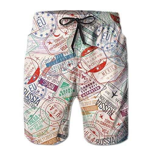 Pantaloncini Bagno Uomo,Pantaloncini Da Nuoto Stampati A Secco Ad Asciugatura Rapida Per Timbri Da Viaggio 3D, Comodi Costumi Da Bagno Leggeri In Poliestere Traspirante Bermuda Da Nuoto Nuoto Palla D