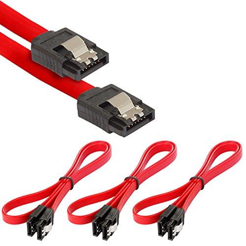 Poppstar 3X SATA Kabel SSD/HDD (0,5m SSD Datenkabel/SATA 3 Kabel SSD, 2 gerade Stecker) bis zu 6 Gbit/s, rot