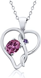 Gem Stone King 0.51 Ct Oval Pink Tourmaline Purple Amethyst 925 Sterling Silver Pendant