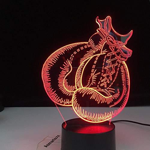 Lâmpada de ilusão 3D, presente para luvas de boxe infantis, luz 3D, toque leve, decoração de quarto, luminária de mesa 3D, luz noturna visível, lâmpada de LED para decoração de casa HOICHAN Weiej