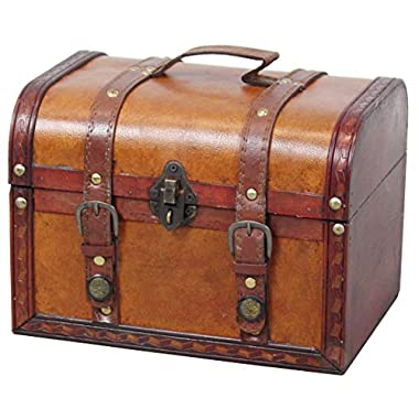 Vintiquewise TM Decorative Wood Leather Treasure Box (Large Trunk Only)