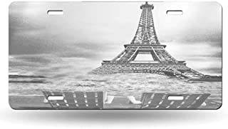 dsdsgog Laser Cut Retro Black and White Eiffel Tower, Paris, France 12x6 inches,Universal Fit for Cars