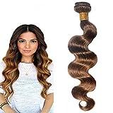Morningsilkwig Body Wave Tissage Cheveux Humain 100g/Pcs Cheveux Vierges Brésilien T430 Color Rémy Cheveux Tissage(16 Pouce/40cm...