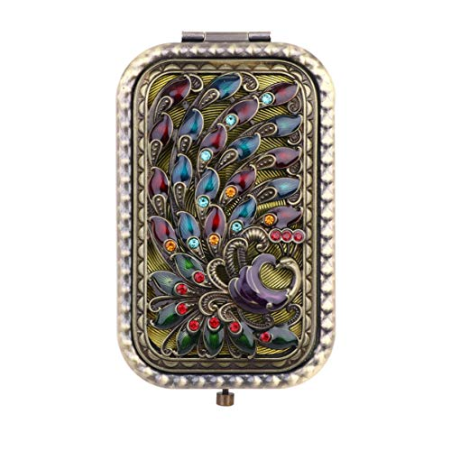 Pixnor Vintage Compact Purse Mirror,Folding Pocket Mirror Peacock Square Travel Beauty Double-sided Makeup Mirror