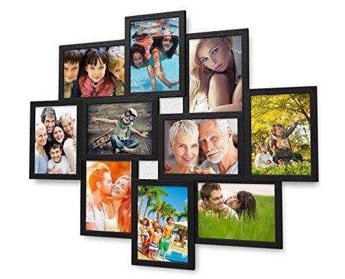 Artepoint 1002 Fotogalerie für 10 Fotos 13x18 cm - 3D Optik - Bilderrahmen Bildergalerie Fotocollage Rahmenfarbe Schwarz gebürstet