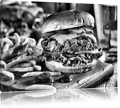 Juicy chili cheeseburgerFoto Canvas | Maat: 100x70 cm | Wanddecoraties | Kunstdruk | Volledig gemonteerd