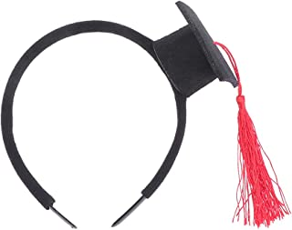 Toyvian 2pcs Graduation Party Headband Mini Doctoral Hat Head Topper Headdress Head Piece Party Favors(Black and Red)