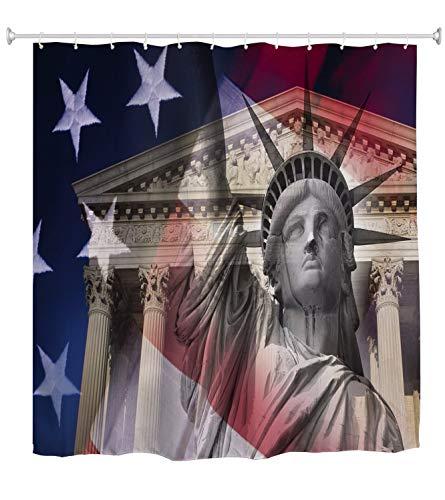A.Monamour Estatua De La Libertad Bandera Americana Bandera Estampada Tela Impermeable Cortina De Baño Cortina De Ducha De Poliéster con Ganchos Anillos 150x180cm